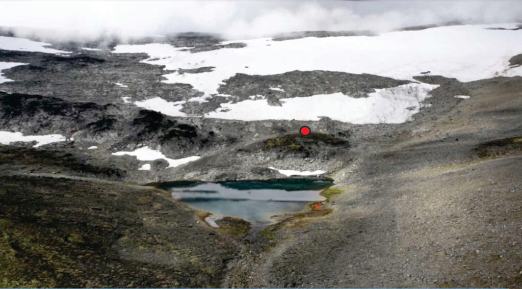 Photo of find spot (marked in red).