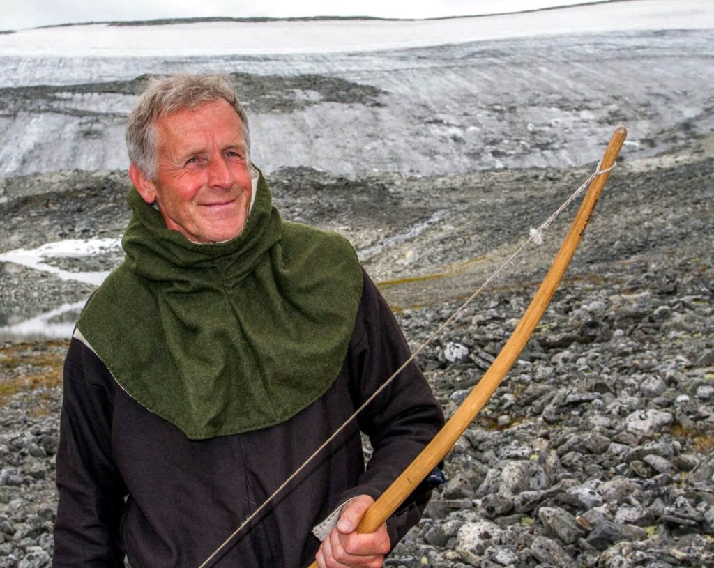 Per Dagsgard in 2010, during the filming of a hunting reconstruction scene at Lendbreen
