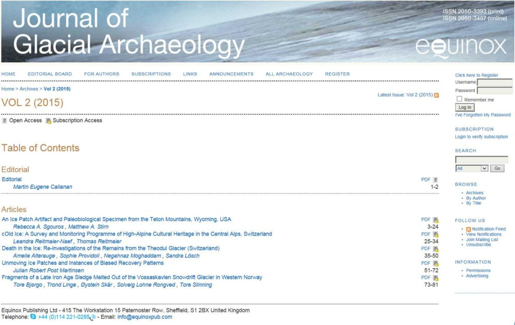 Innholdsfortegnelsen for Journal of Glacial Archaeology, vol. 2