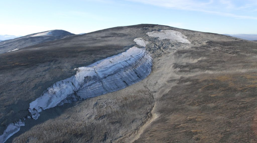 An ice patch in Jotunheimen, where 6000 years old Arrows have now melted out.