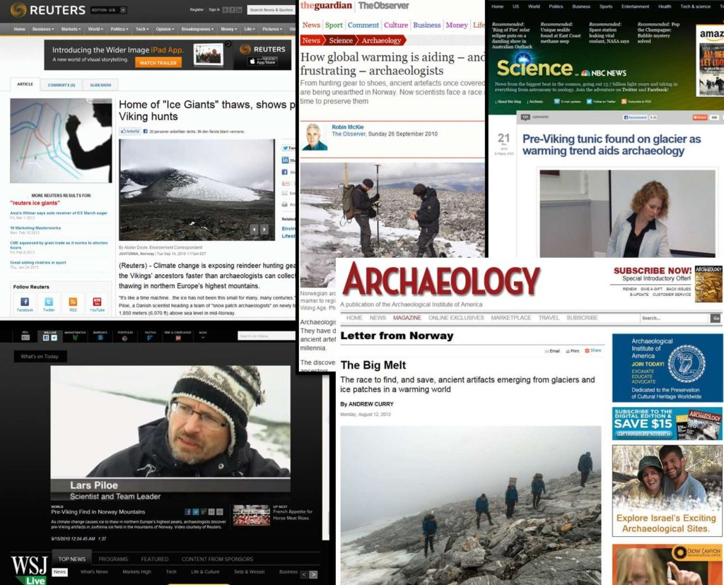 Media links to the glacial archaeology of Oppland.