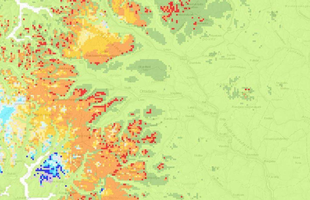 Snowmelting in Oppland pr. 16.juni 2016