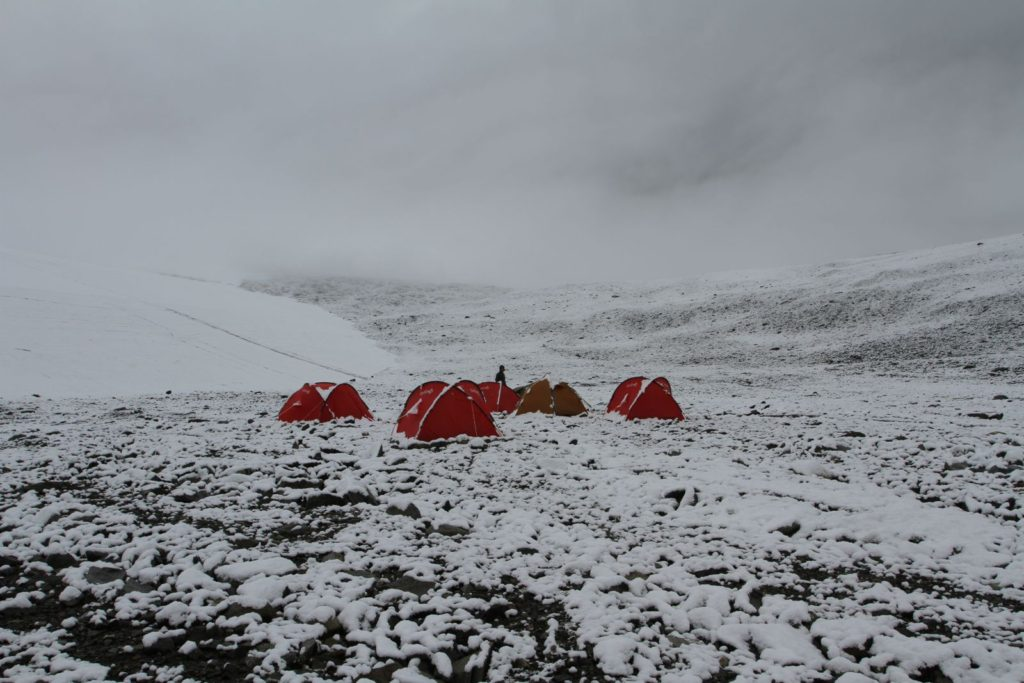 The basecamp in snow, late August 2014.
