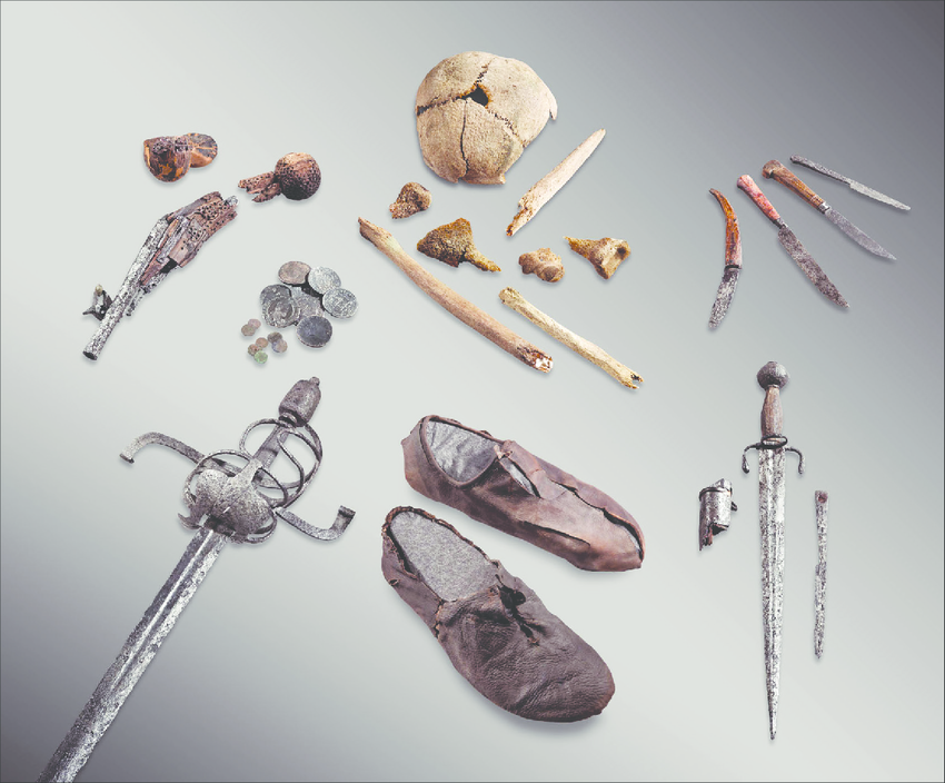 Bones and artefacts from a man who died on the trail over the Theodul-glacier, Switzerland, around AD 1600.