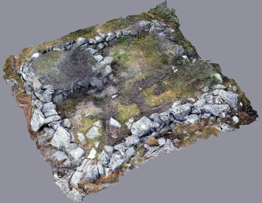 3D-photogrammetrical reproduction of the Hellstugu ruin. Notice the small room in the upper left corner, perhaps a room for storing the dead.