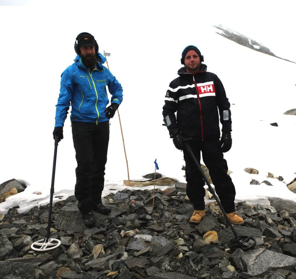 Kjetil (left) and Ronny, two local metal-detector enthusiasts, who helped survey the scree for lost arrowheads.