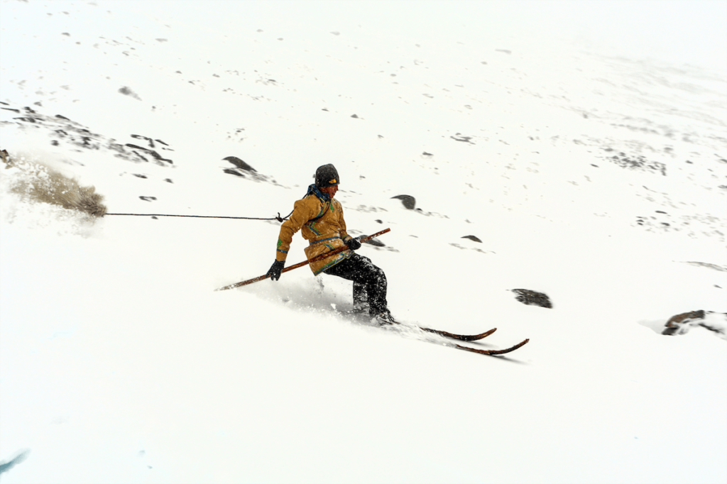 Ma Liqin, traditional skier from Chinese Altai.