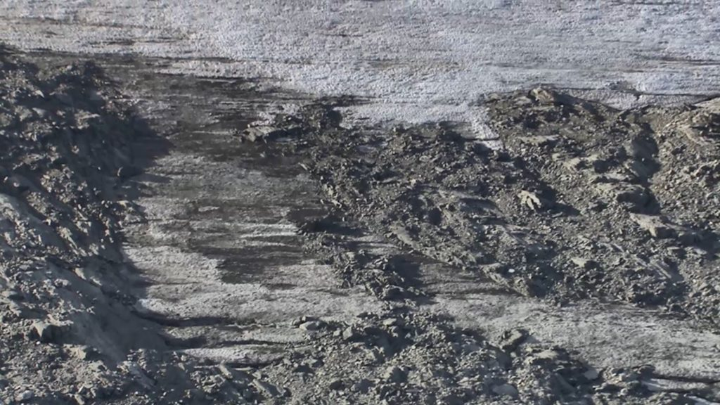 Aerial photo of the pass area showing brown ice.