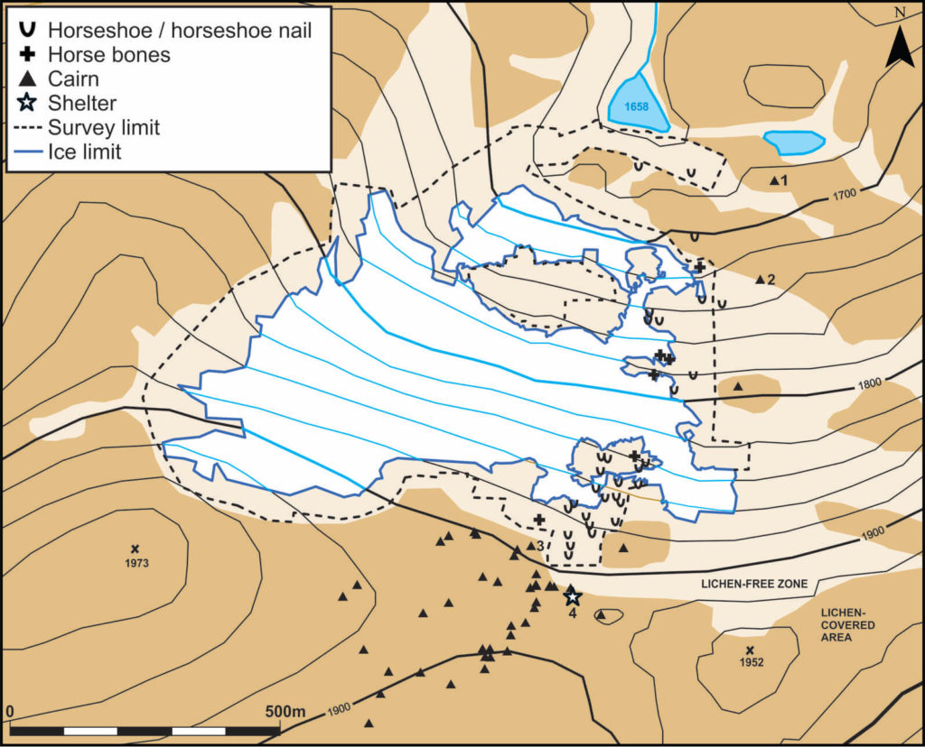 Map ofthe Lendbreen site.