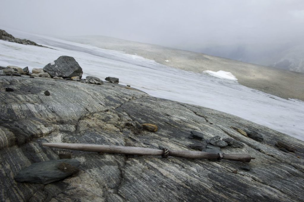A wooden distaff found in the mountain pass.