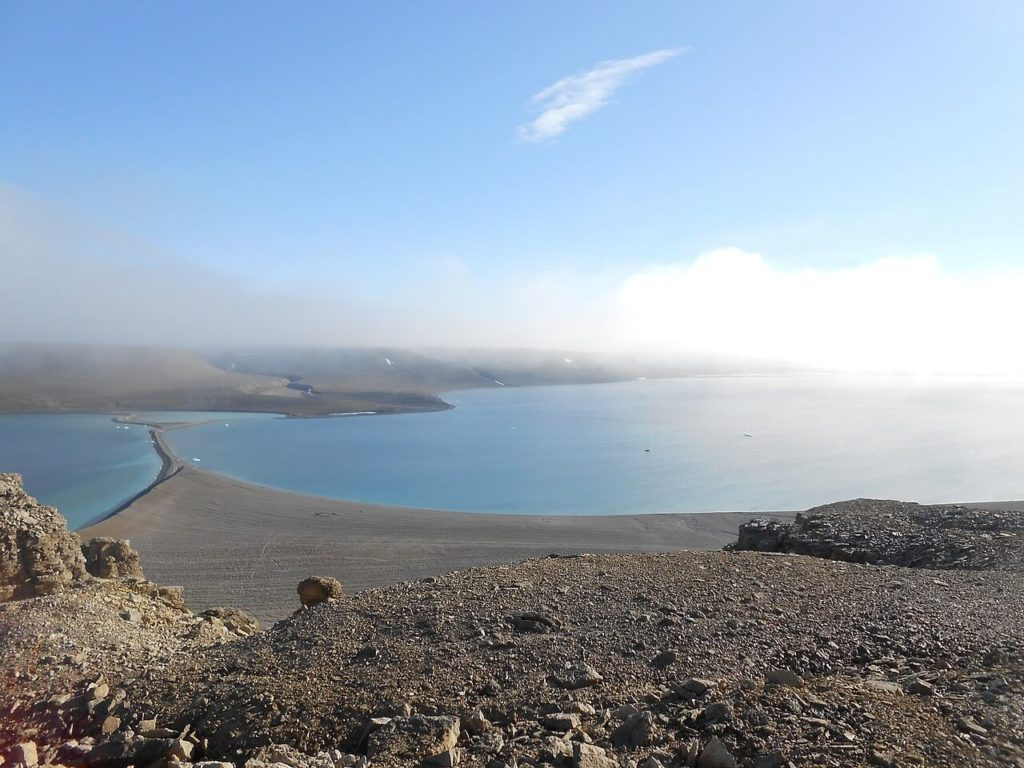 A view from Beechey Island showing the beach were the cemetery is situated.