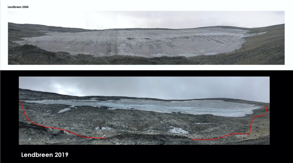 The Lendbreen ice patch in 2006 and 2019.