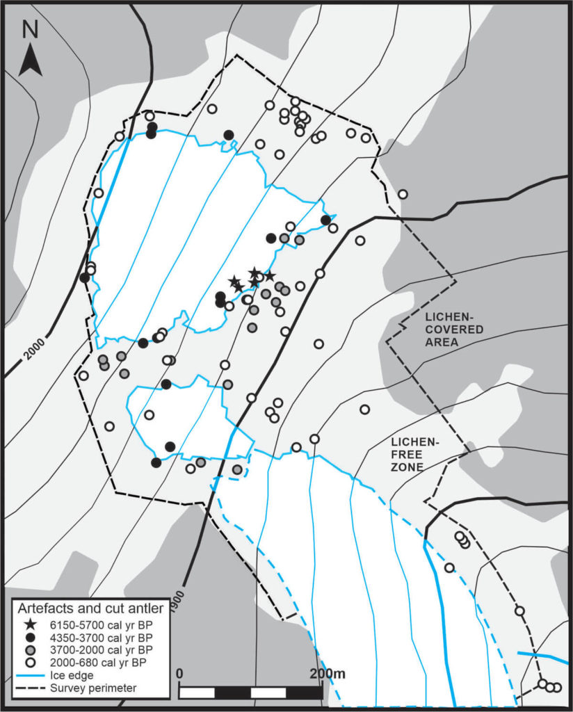 Map of where artefacts are found on the site through time
