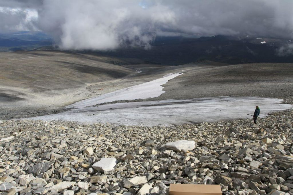 The Langfonne ice patch seen from the top during the 2014 fieldwork.