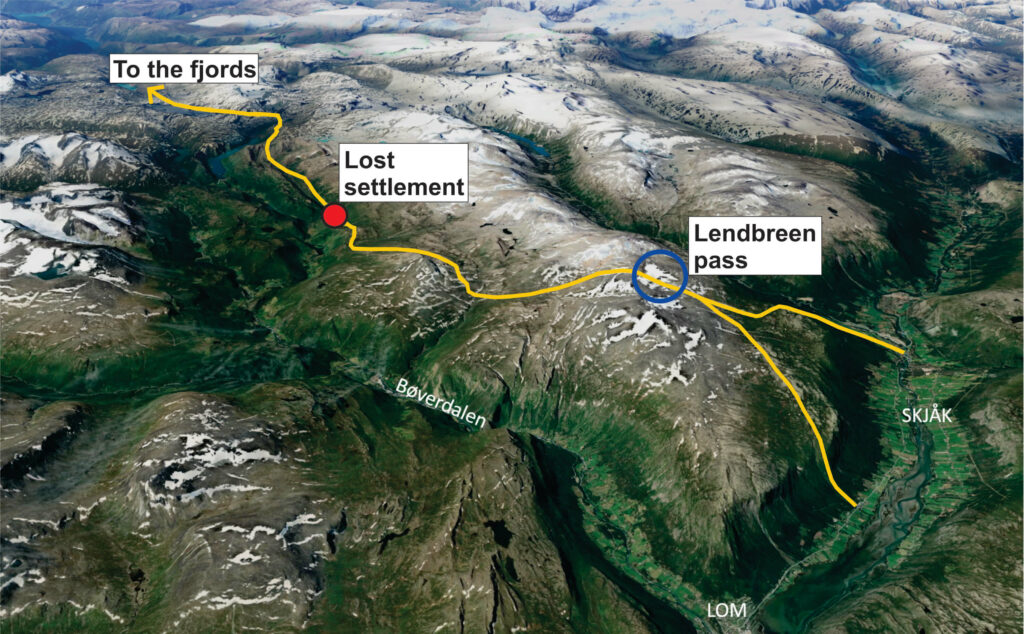 The route from Lendbreen to the lost Viking settlement and further west.